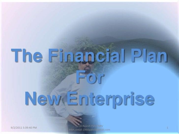 Financial plan for new enterprise