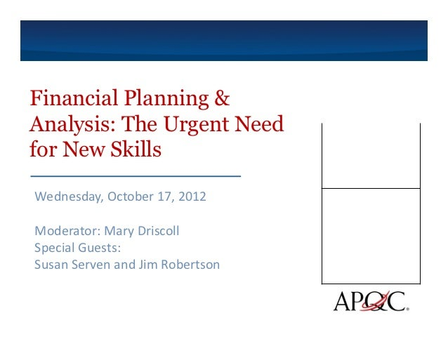 Financial planning & analysis  the urgent need for new skills