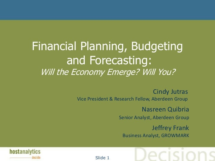 Financial Planning, Budgeting       and Forecasting: Will the Economy Emerge? Will You?                                   ...