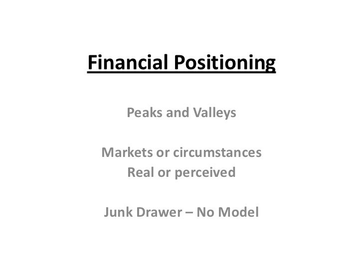 Financial Positioning<br />Peaks and Valleys<br />Markets or circumstances<br />Real or perceived<br />Junk Drawer – No Mo...