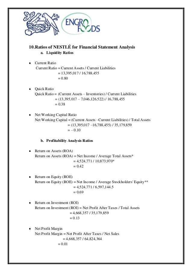 nestle financial ratio analysis