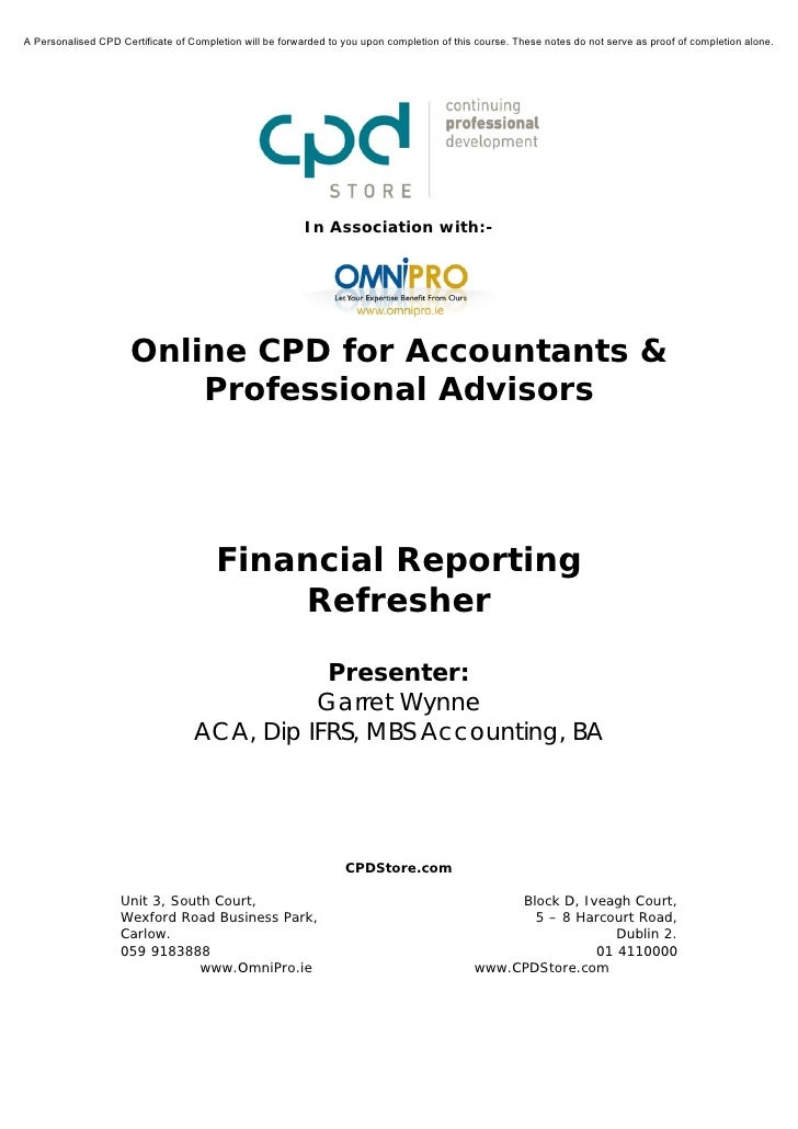 Financial Reporting Refresher