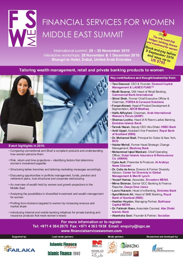 Researched and developed by: SF ME FINANCIAL SERVICES FOR WOMEN MIDDLE EAST SUMMIT International summit: 29 – 30 November ...