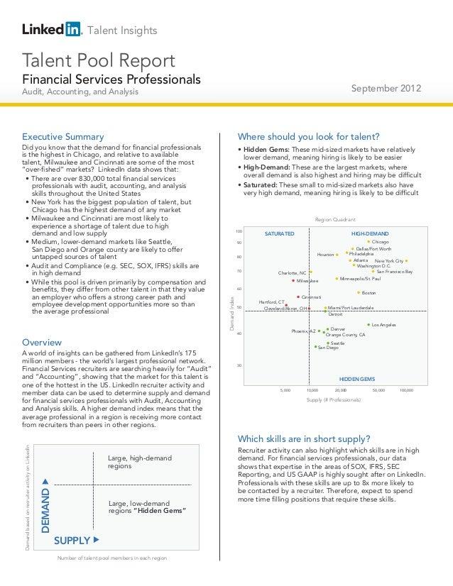 Financial services professionals   talent pool report