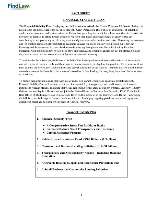 1    FACT SHEET FINANCIAL STABILITY PLAN The Financial Stability Plan: Deploying our Full Arsenal to Attack the Credit Cri...