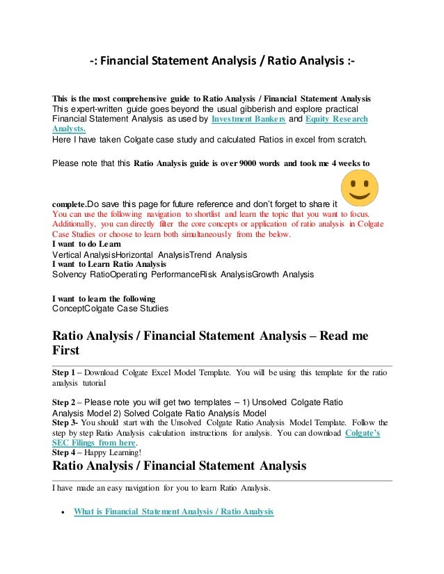 ratio financial statement analysis essay