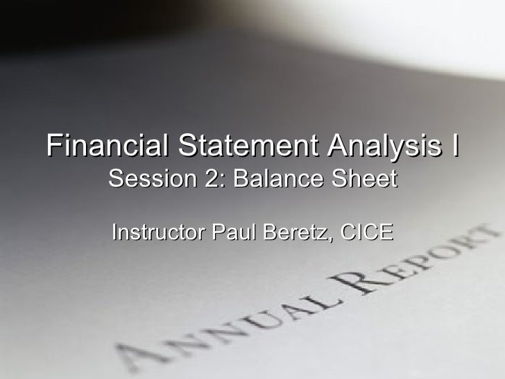 Financial Statement Analysis I Session 2
