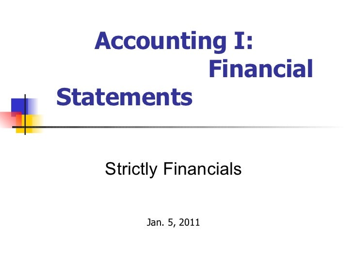 Financial Statements I - Reynolds Week 2011