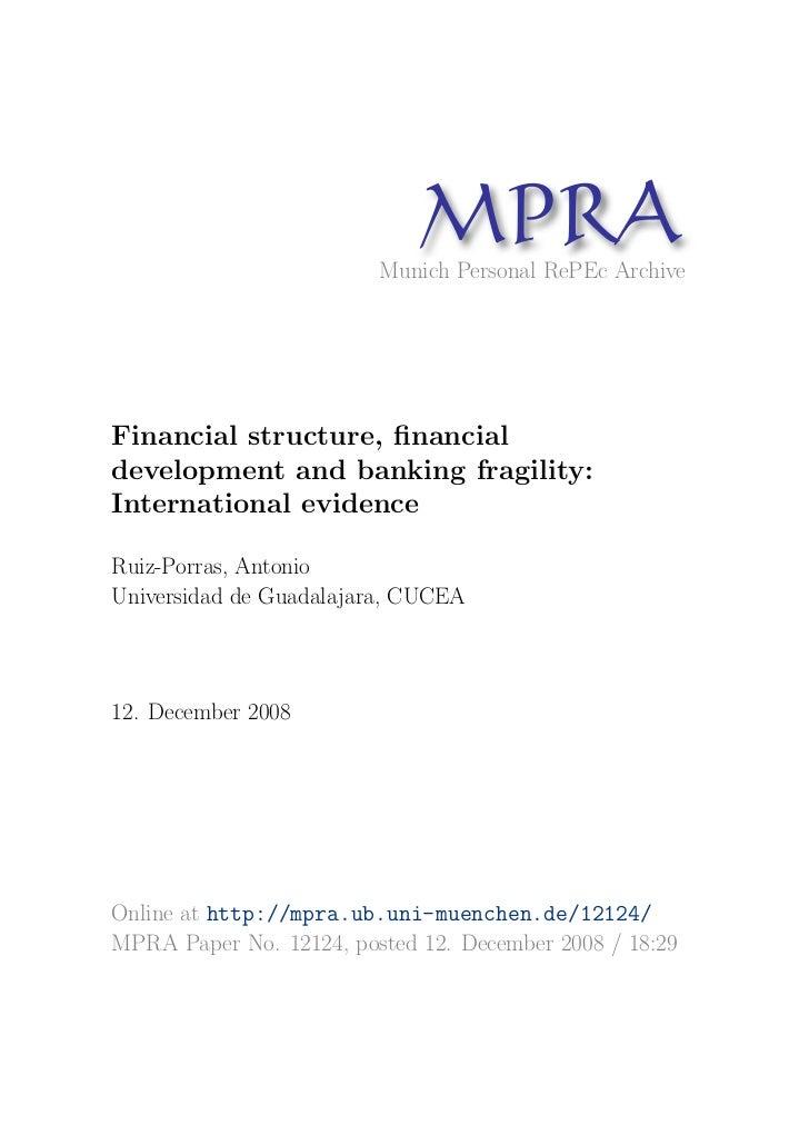 MP A                               R                         Munich Personal RePEc ArchiveFinancial structure, financialdev...