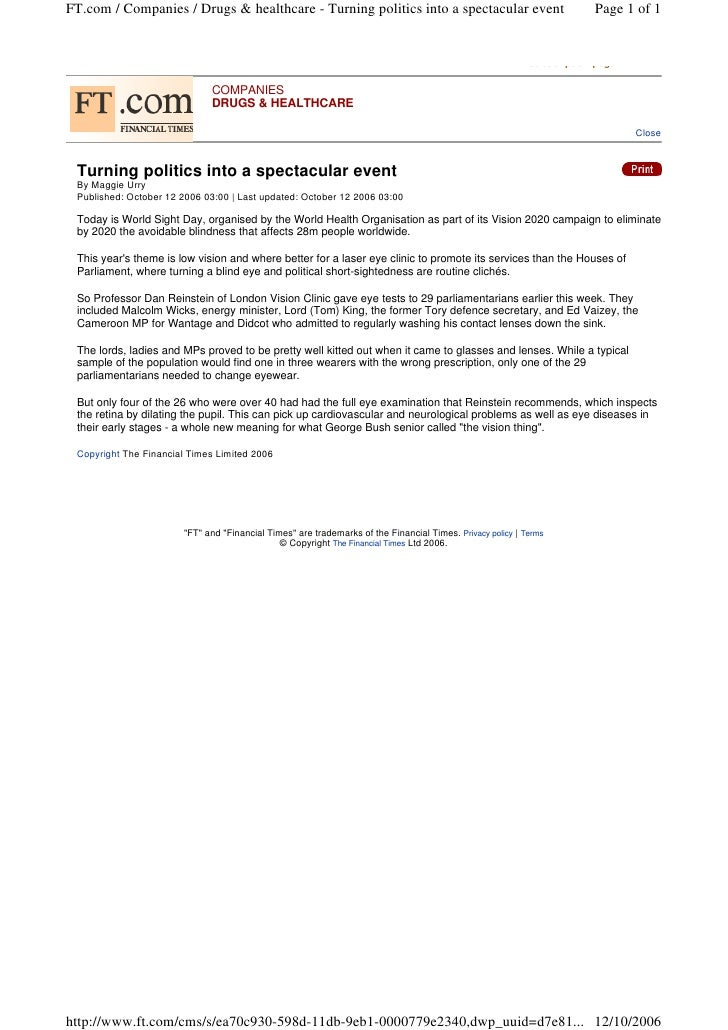 FT.com / Companies / Drugs & healthcare - Turning politics into a spectacular event                                    Pag...