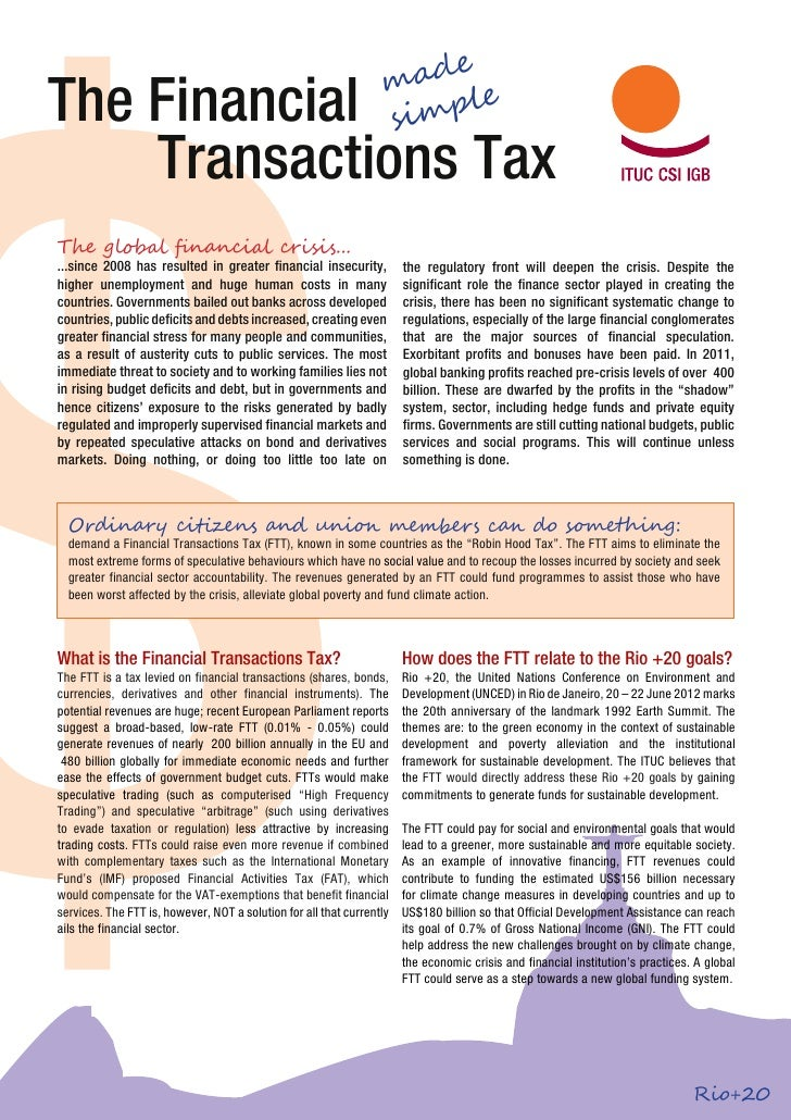 Financial Transactions Tax Made Easy