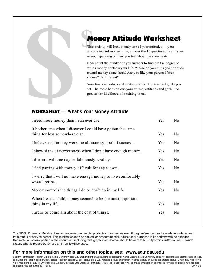 Financial Values Attitudes and Goals Worksheet