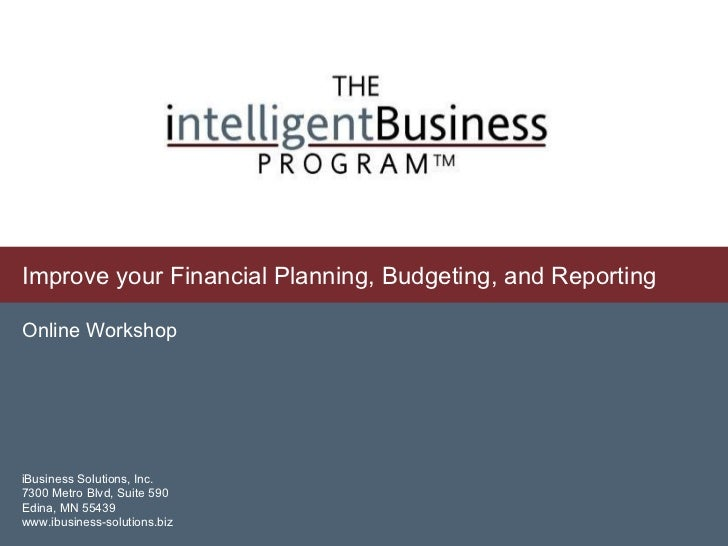 Improve your Financial Planning, Budgeting, and Reporting Online Workshop