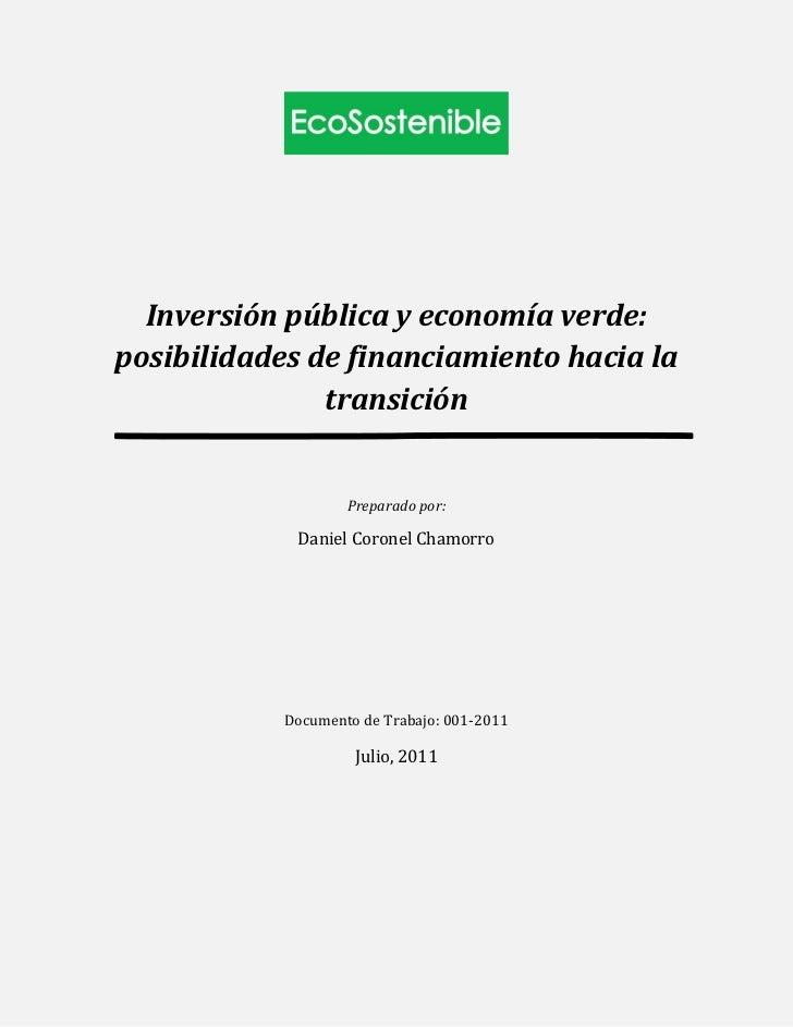 Inversión pública y economía verde:posibilidades de financiamiento hacia la               transición                    Pr...