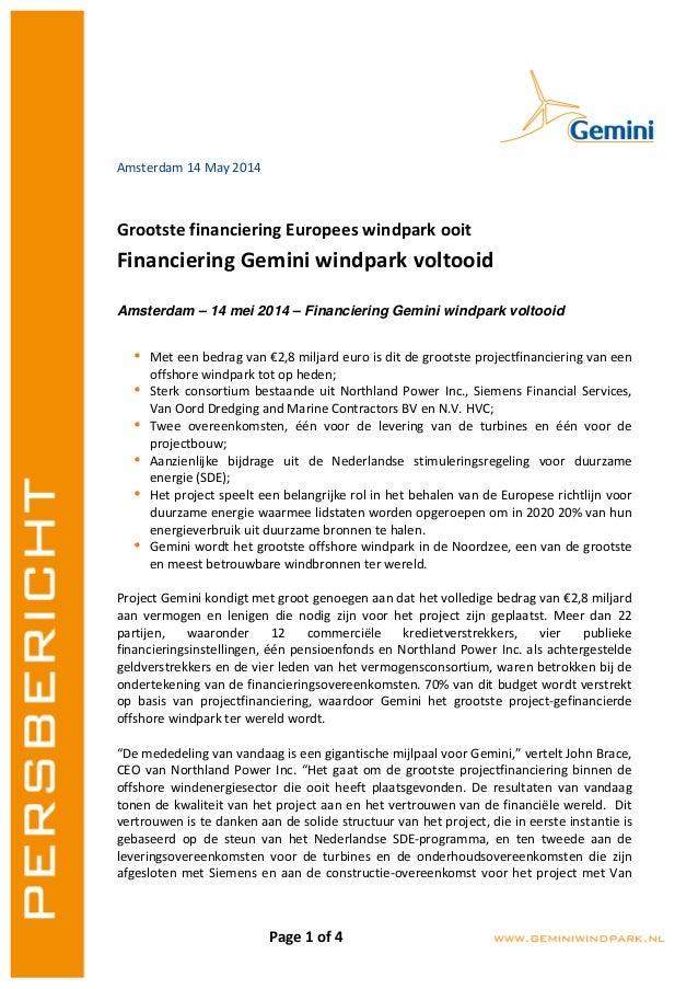 Page  1  of  4   Amsterdam  14  May  2014      Grootste  financiering  Europees  windpark  ooi...