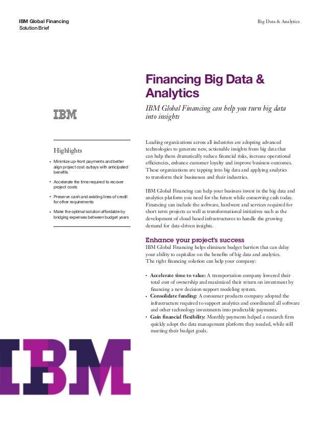 Financing Big Ddata and Analytics
