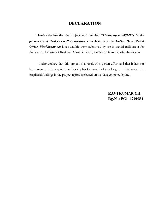Financing To Msme Units Andhra Bank