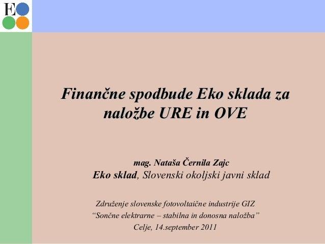 Finančne spodbude Eko sklada zaFinančne spodbude Eko sklada za naložbe URE in OVEnaložbe URE in OVE mag. Nataša Černila Za...