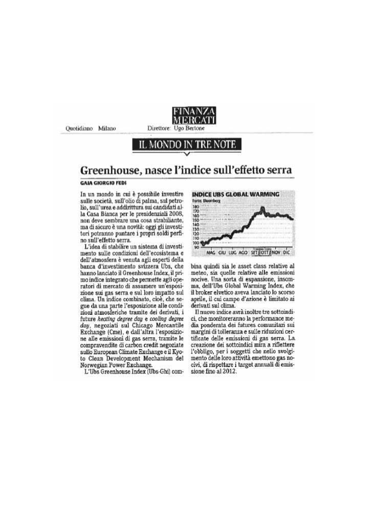 Finanza Mercati - April 2008 - UBS Greenhouse Index - ilija murisic