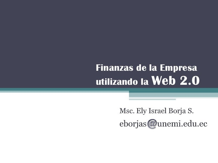 Finanzas de la Empresa utilizando la  Web 2.0
