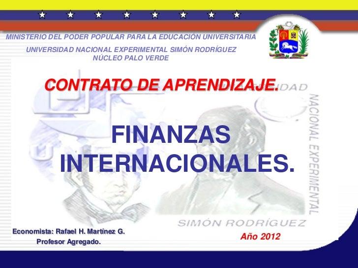 Finanzas internacionales 12 de enero de 2012