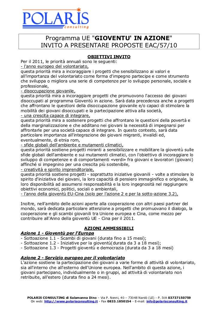 """Programma UE """"GIOVENTU IN AZIONE""""           INVITO A PRESENTARE PROPOSTE EAC/57/10                                     OBI..."""