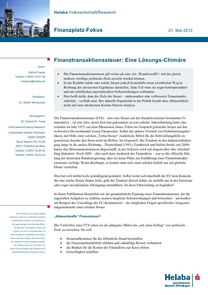 Helaba Volkswirtschaft/Research                                                    Finanzplatz-Fokus                      ...
