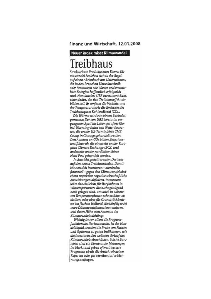 Finanz und Wirtschaft- January 2008 - UBS Greenhouse Index - ilija murisic