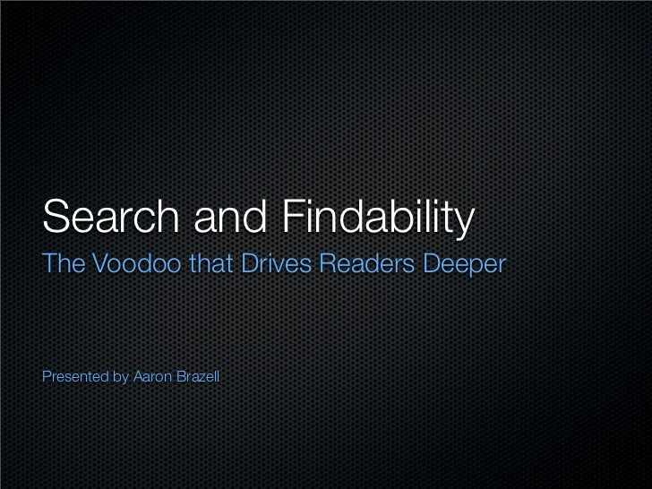 Search and Findability The Voodoo that Drives Readers Deeper    Presented by Aaron Brazell