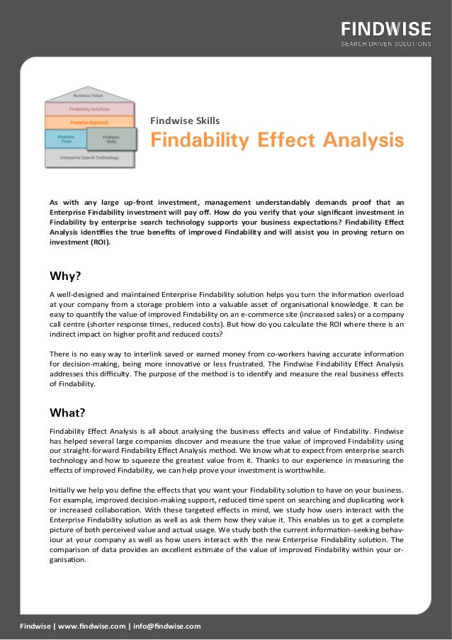 Findwise Skills                                     Findability Effect Analysis       As with any large up-front investmen...