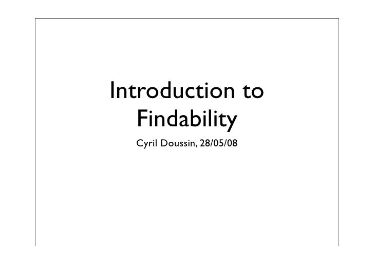 Introduction to Findability