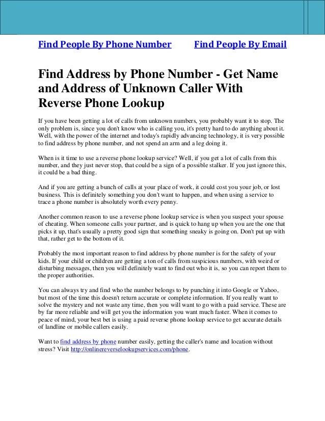Find People By Phone Number Find People By Email Find Address by Phone Number - Get Name and Address of Unknown Caller Wit...