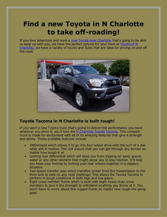 Find a new Toyota in N Charlotte to take off-roading