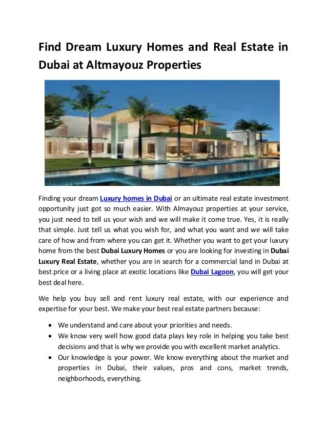 Find dream luxury homes and real estate in dubai at ...