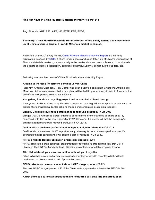 Find hot news in china fluoride materials monthly report 1311