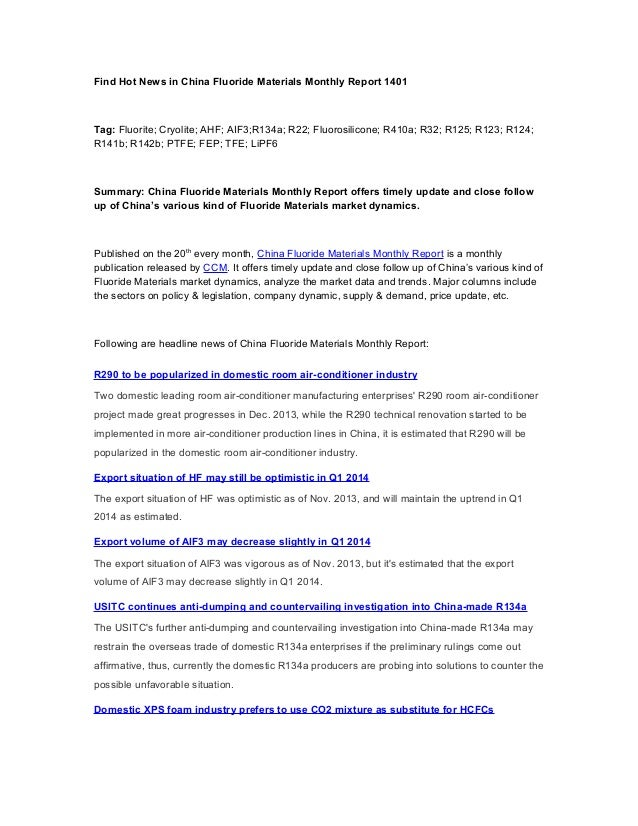 Find hot news in china fluoride materials monthly report 1401