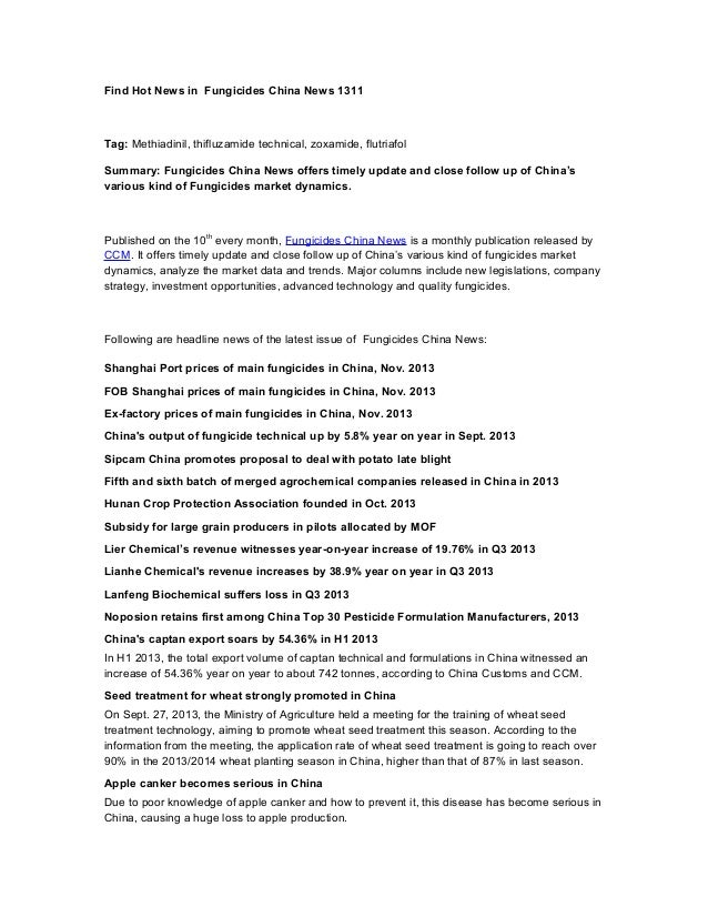 Find Hot News in Fungicides China News 1311  Tag: Methiadinil, thifluzamide technical, zoxamide, flutriafol Summary: Fungi...