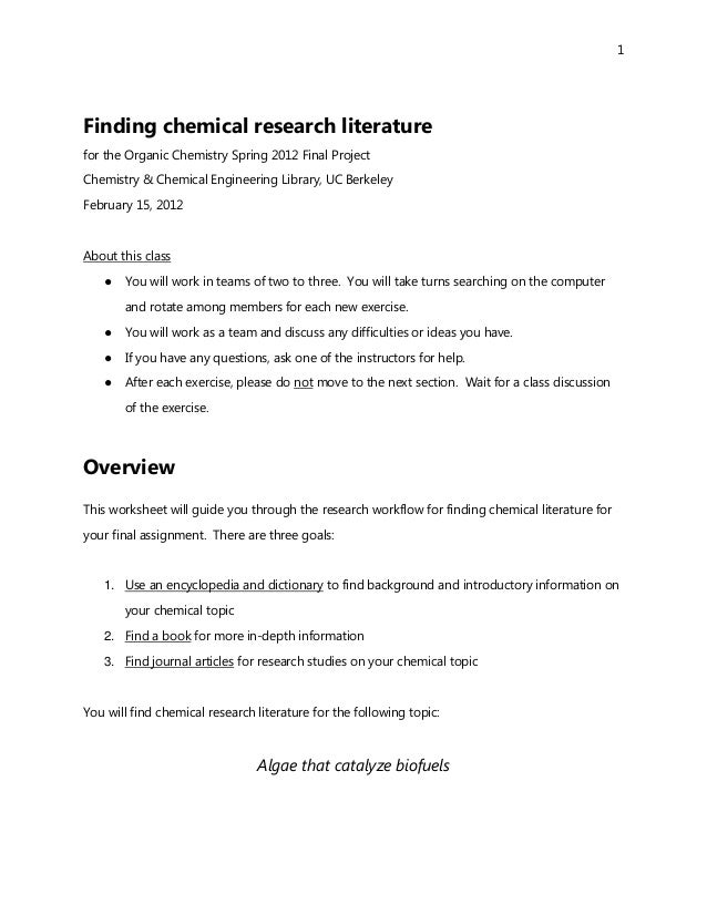 1Finding chemical research literaturefor the Organic Chemistry Spring 2012 Final ProjectChemistry & Chemical Engineering L...