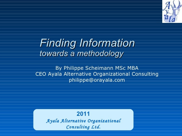 Finding information on the Web - methodology