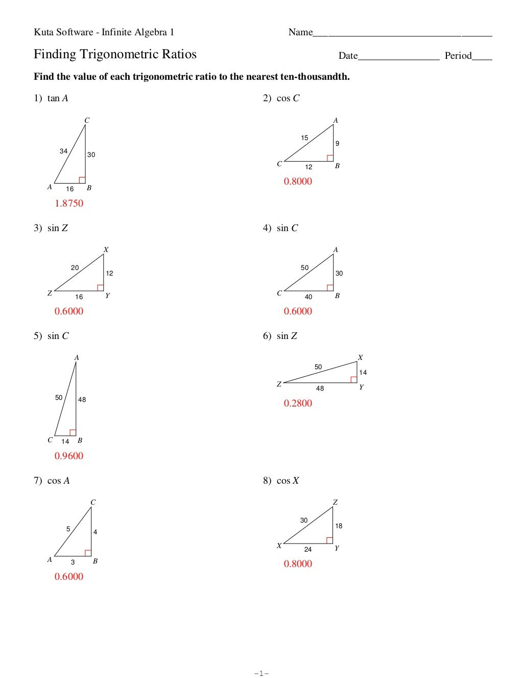 Worksheets Trigonometric Ratios Worksheet collection of trigonometric ratios in right triangles worksheet finding exact llamadirectory com