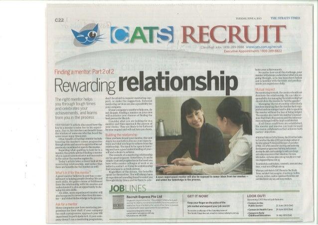 Finding a Mentor  - Part II Rewarding Relationships - ST Recruit 4 June 2013