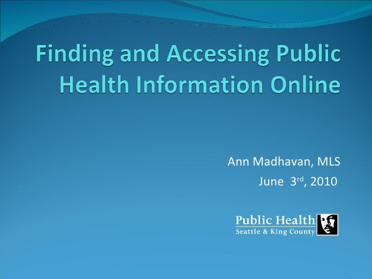 Finding and accessing public health information online