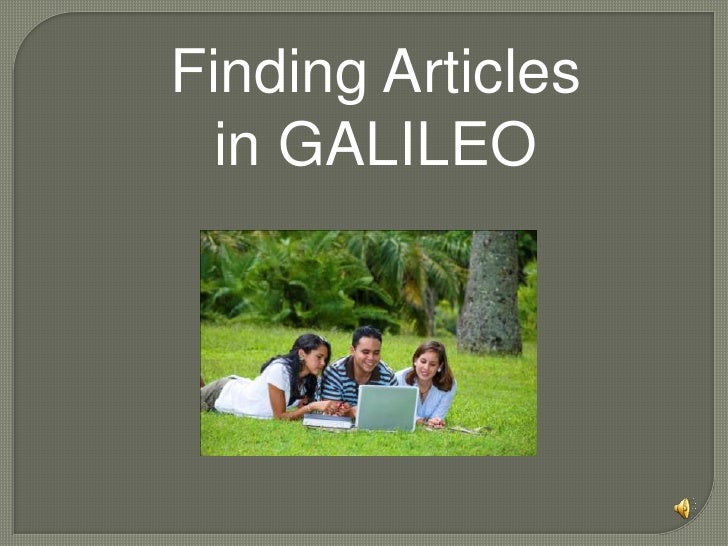 Finding Articles in GALILEO<br />