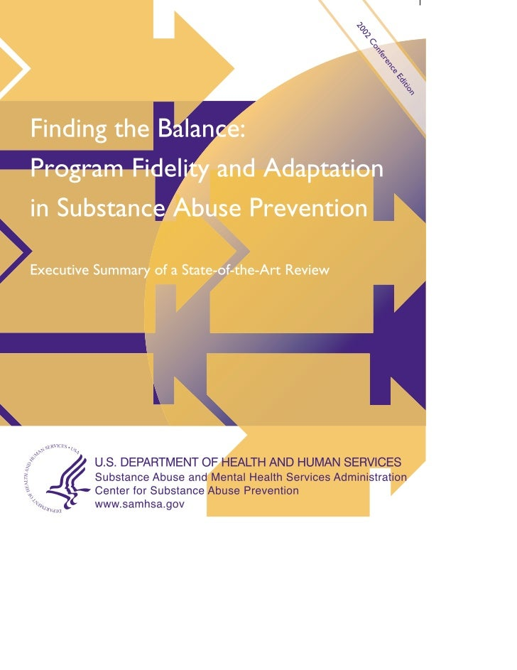 Finding the Balance:Program Fidelity andAdaptation in SubstanceAbuse PreventionExecutive Summaryof a State-of-the-Art Review
