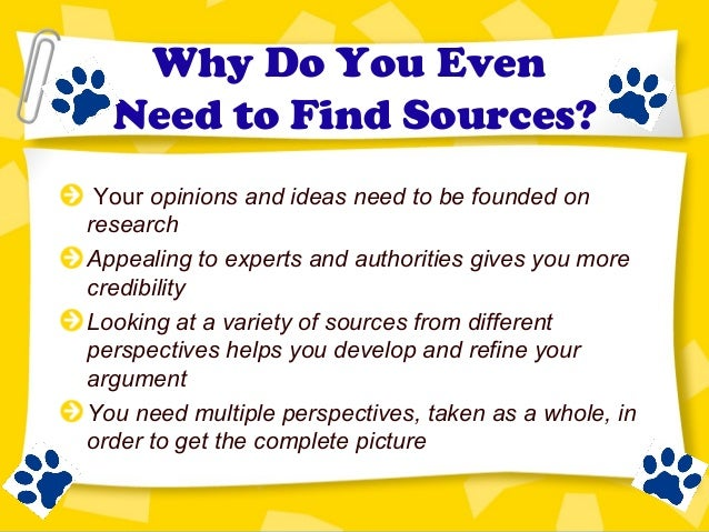 finding sources for research paper
