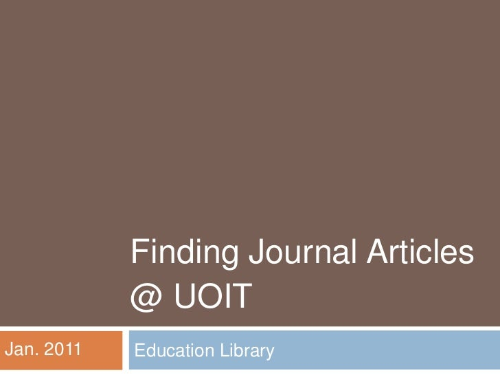 Finding Education Journal Articles @ UOIT