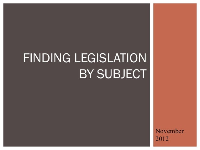 Finding legislation by subject