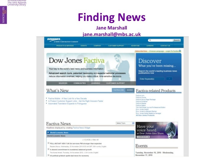 Finding News Jane Marshall [email_address]