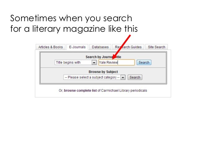 Sometimes when you search for a literary magazine like this