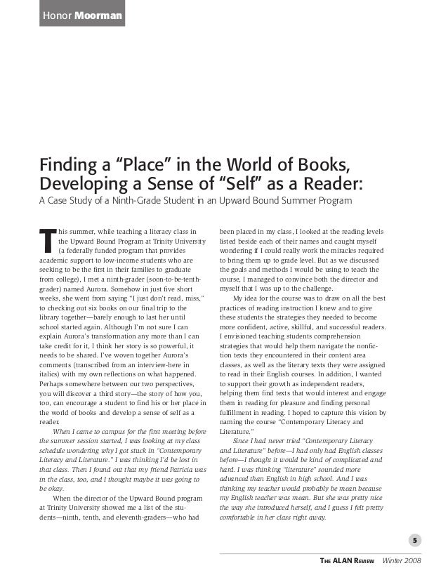 "Finding a ""Place"" in the World of Books, Developing a Sense of ""Self"" as a Re...Honor MoormanALAN Review; Winter 2008; 35,..."